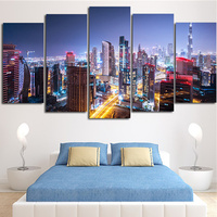 5Peices Wall Painting Picture Beautiful Night Street Canvas Art Prints Posters Moular Paint For Living Room