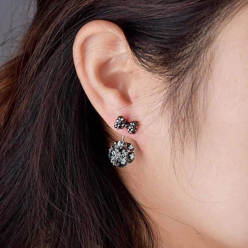 Baru Busur Gadis Pejantan Anting Royal Biru Sintetis Kristal Earring Celebrity Stud Earrings Boucles D'oreilles Pour Les Femmes Aros