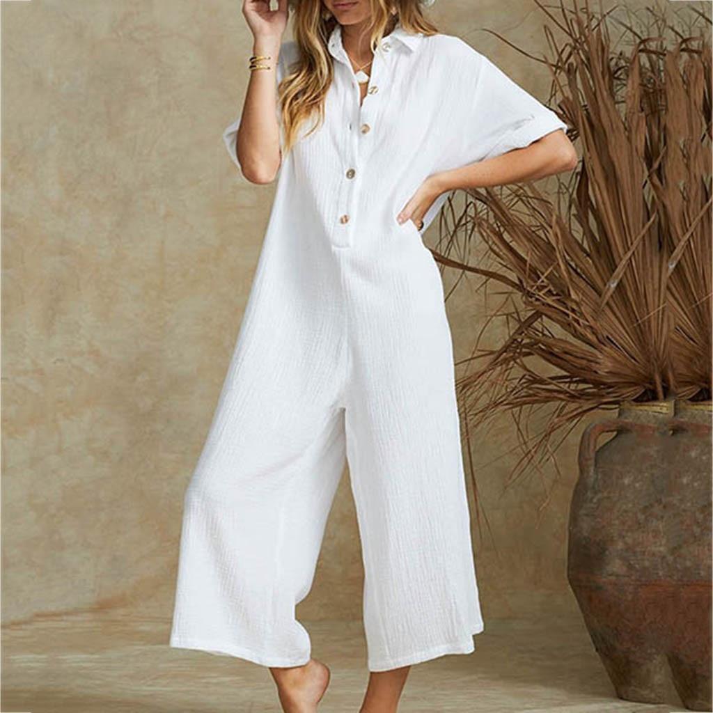 Women jumpsuit cotton linen solid color Lady Summer overalls Loose Harem Pants Long Trousers Casual Buttons wide leg Jumpsuits