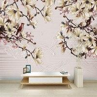 White Flower Wallpaper Custom 3 D Stereo Nordic Modern Desktop Background Wall Murals Living Room Study