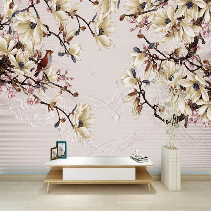 white flower wallpaper custom 3 d stereo nordic modern desktop background wall murals living room study flower wallpaper mural