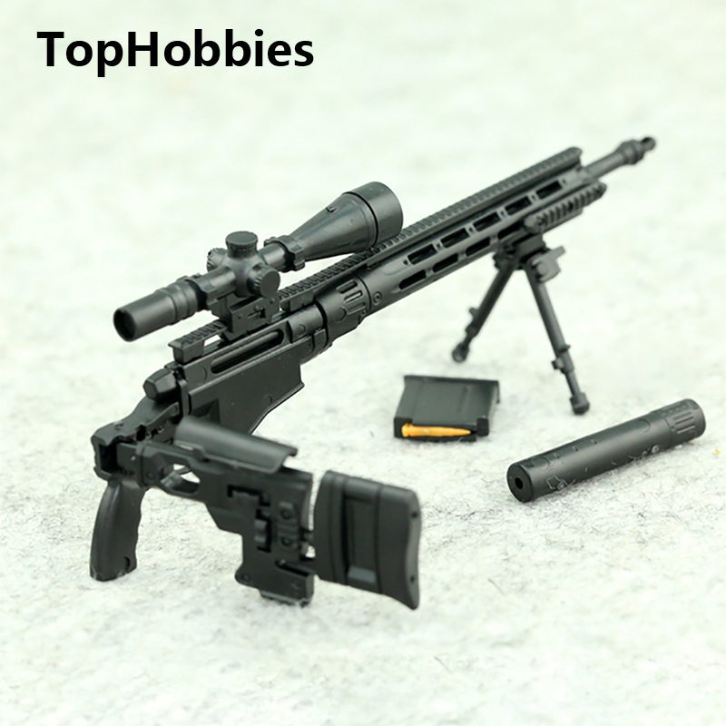 1/6 Scale MSR Modular Sniper Rifle Gun Color Random Remington MSR Weapon Military Action Figure Soldier Toys Parts Accessory 1 6 scale plastics united states assault rifle gun m16a1 military action figure soldier toys parts accessory