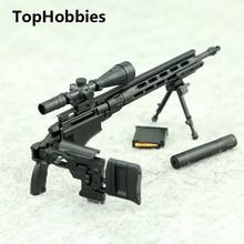 1/6 Scale Modular Sniper Rifle Gun Model Color Random Remington MSR Weapon Accessory Military Action Figure Soldier Toys Parts
