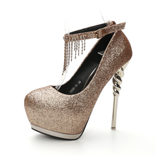 Euro Size 34-39 Diamond Shinning Color Woman Thin High Heels Platform Pumps Lady' Sexy Pointed Toe Ankle Strap Nightclub Shoes