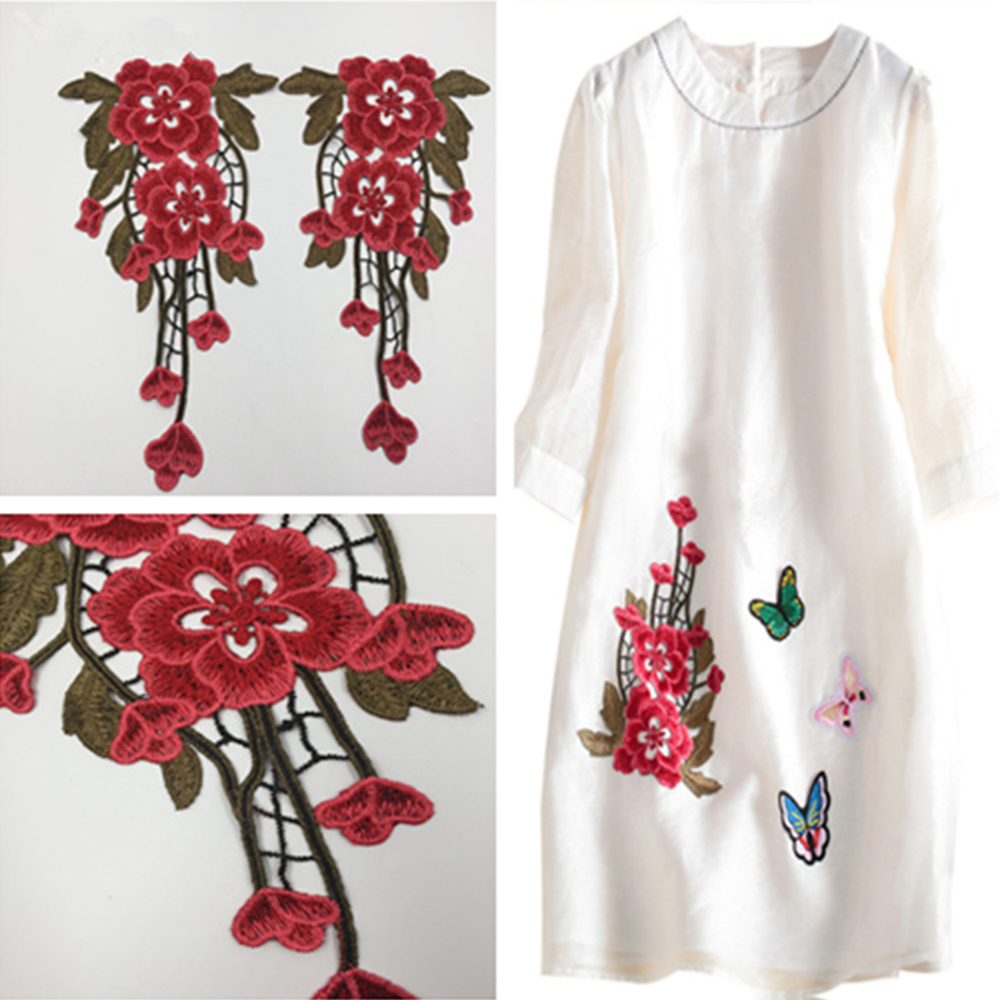 DIY Embroidered Hollow Out Beautiful Flower Sew On On Patch Applique Craft Clothes Sew Supplies