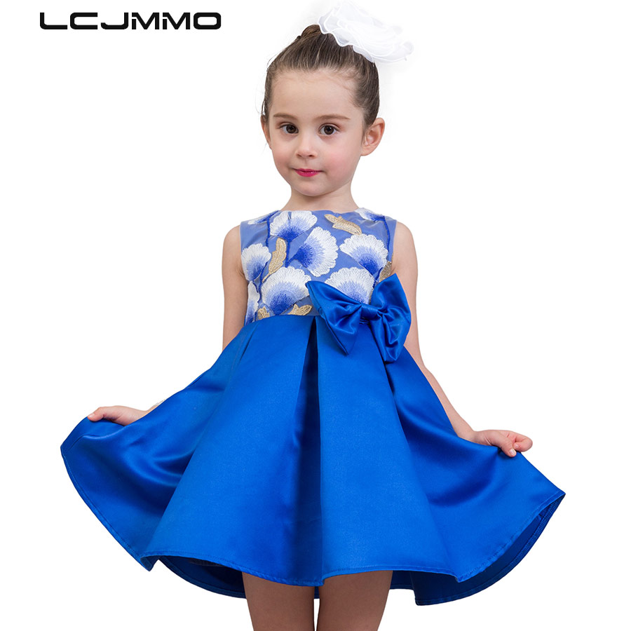 LCJMMO Chinese Style Princess Summer Dresses Girls Party Tutu Dress 2018 Sleeveless Embroidery Kids Wedding Dresses Clothes 3-9Y