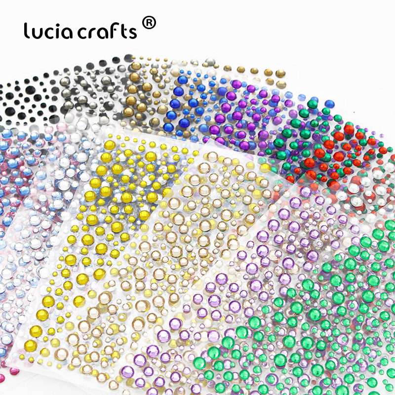 1 Sheet/lot Self Adhesive Rhinestones Acrylic Stickers DIY Decal Scrapbooking Stickers PC Decor Sparkle Gems C0810