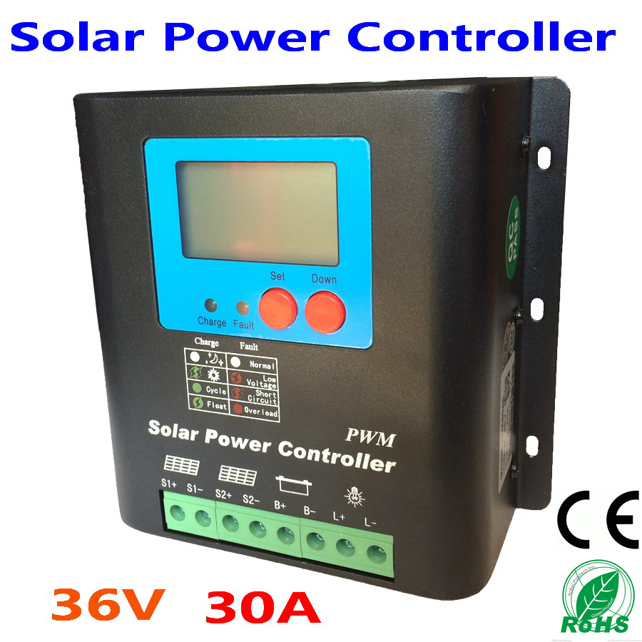 30A PV Solar Panel Controller 36V Battery Charge Regulator with reverse polarity protection of module/battery/load30A PV Solar Panel Controller 36V Battery Charge Regulator with reverse polarity protection of module/battery/load