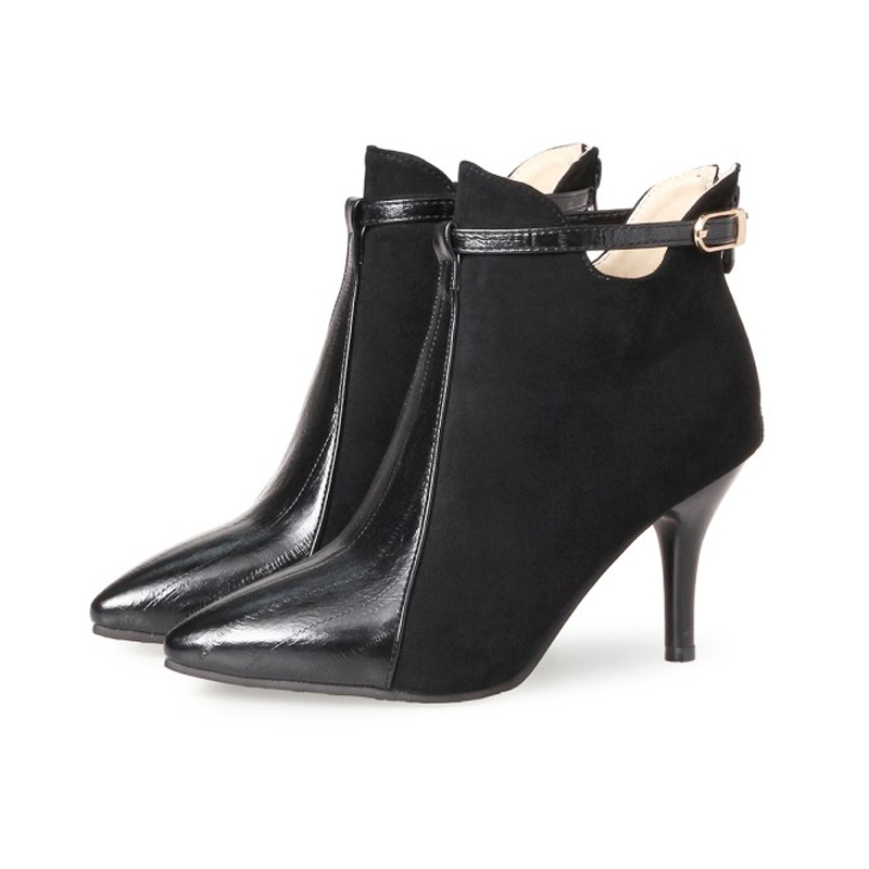 Women Ankle Boots Zipper Pointed Boots Women High Heeled Winter Shoes Casual Fashion Ladies Ankle Boots Thin Heels for Women ouqinvshen pointed toe thin heels women boots ladies super high heels ankle boots casual fashion butterfly knot women s boots