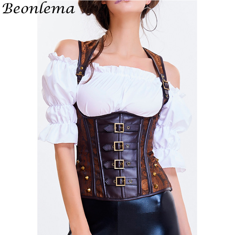 Beonlema PU Leather Halter Korset Steampunk Waist Trainer Back Lacing Up Top   Bustier   Brown Underbust Stap Belts Corselet   Corset