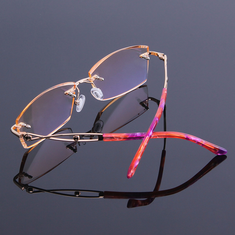 Lesebrille Reflektierende Von Randlose Für Nähe Legierung Brillen Neue Leser In Strass Der Anti Sehen Frauen Rahmen Presbyopie waEvwXqBn