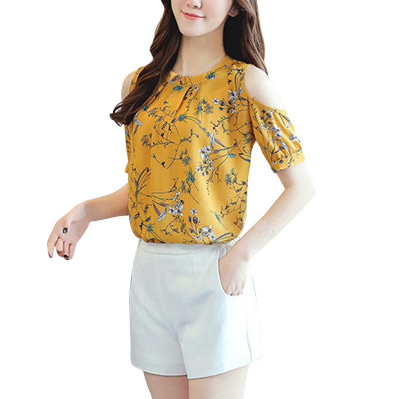 2017 Summer Style Floral Shirt For Womens Elegant Open Shoulder Blouses Chiffon Print Women Plus Size Female Tops S4