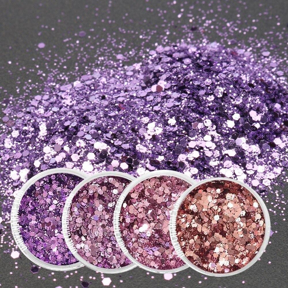 1 Box 4 Farben Rosa Lila Mixed 0,2 Mm Glitter Pulver 1 Mm Pailletten GlÄnzende Staub Nail Art Dekoration Lidschatten 10 Ml Schönheit & Gesundheit Nails Art & Werkzeuge Ma03-17-28 HüBsch Und Bunt
