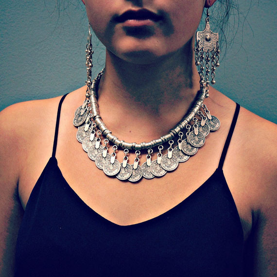 Fashionable – Maxi  Boho Style Silver Coins Choker Necklace For Women