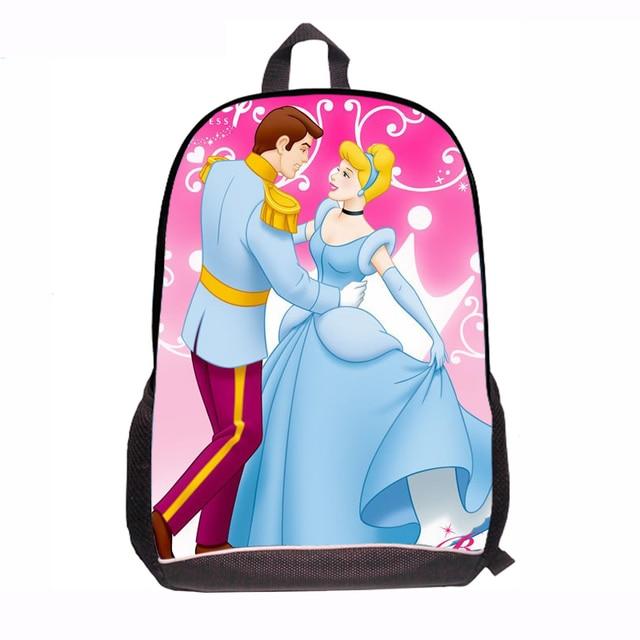 2015 New Princess Cartoon Cinderella School Bags for Children Cute Kawaii Schoolbags for Grils middle school Shoulder bag