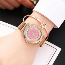Vansvar Brand Luxury Rose Gold Women Bracelet Watches Mobile Rhinestone Pink Watch Ladies Crystal Quartz Magnetic Wrist