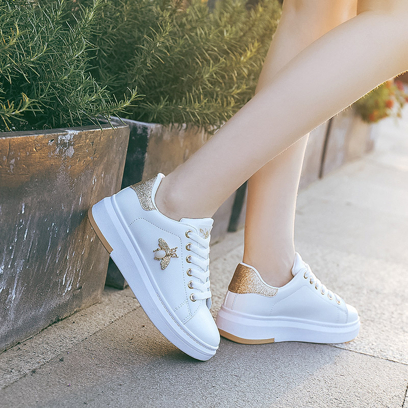 Image 5 - Casual Shoes Women Sneakers 2019 Fashion Rhinestone Platform White Sneakers For Women Breathable PU Leather Shoes Tennis Female-in Women's Flats from Shoes