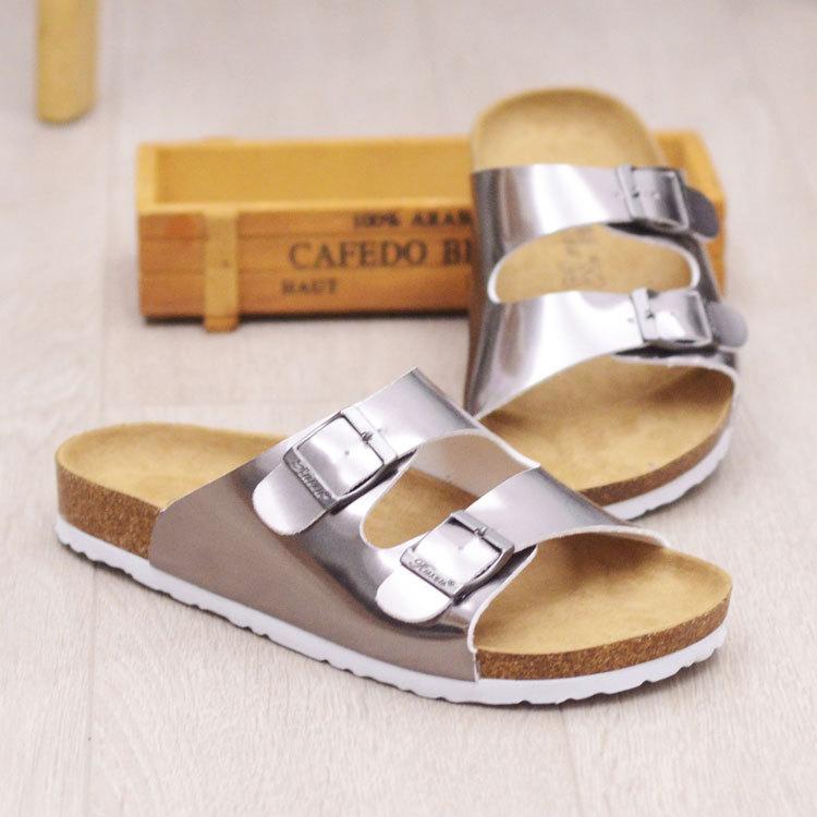 2017New Summer Beach Cork Slippers Sandals Casual Double Buckle Clogs Women Slip on Flats Shoe Plus