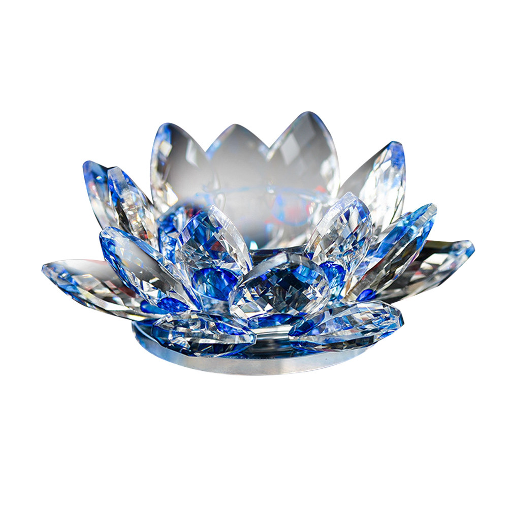Crystal Lotus Flower Candle Holders 7 Colors Candlestick Glass