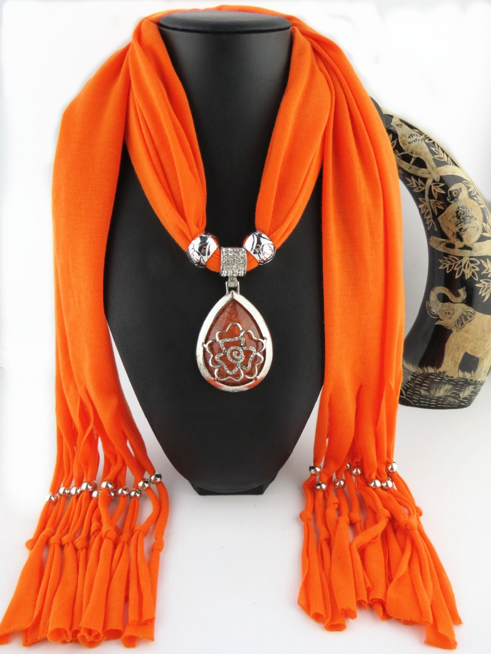 Solid Color and Multicolor Polyester Winter warmth With 9 Color Dark Grain DIY Beads Crystal Women Pendant Scarf Necklace