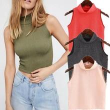 Women Sleeveless Turtleneck Tank Tops Bright Silk Harajuku Streetwear Summer Cropped Tops Slim T-Shirt High Street Fashion