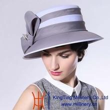 June'syoung Verano Nueva Gasa de La Moda Sombreros 100% de La Gasa Clásica Gris Blanco Elegante Dama Vestido de Novia sombreros de Ala Femeninos del Sombrero