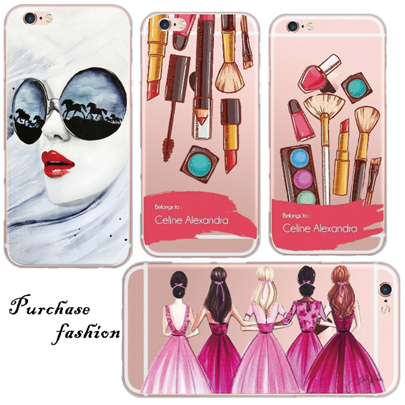 Beauty Painting Marilyn Monroe Lips Girl Protective Multi Color Painted pattern For iPhone 5S 6 6S Transparent Back Cover Coque