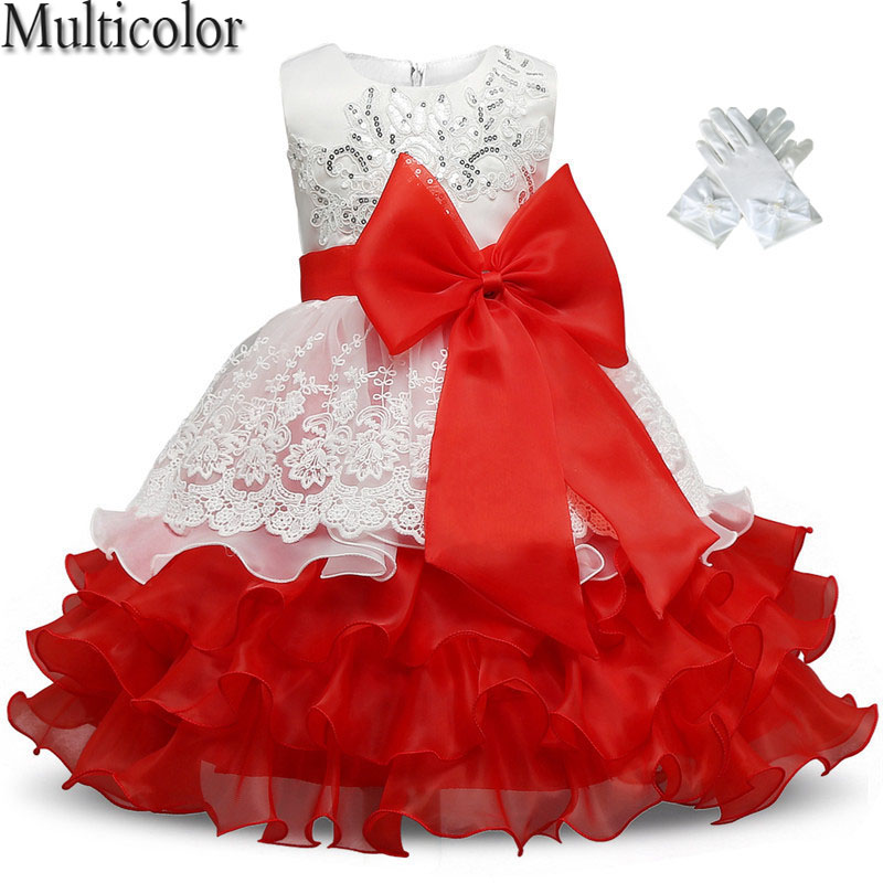 MULTICOLOR New Summer Baby Girl Dresses Party And Wedding Prom Gown Princess Tutu Dress+Dress Gloves vestidos Children Clothing new year formal gown princess summer 2017 new party dress girl children clothing prom wedding kids clothes girls tutu dresses