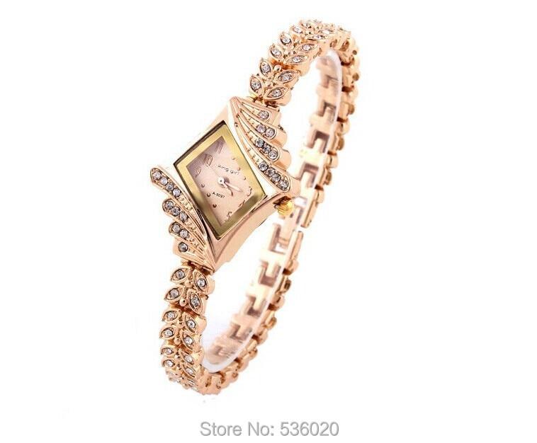 Fashion Ladies Dress Bracelet Watch Unique rhombic Dial Rose Gold Watches Beauty Diamond Rhinestone Women's Quartz  -  ShenZhen OKE Trade Co.,LTD store
