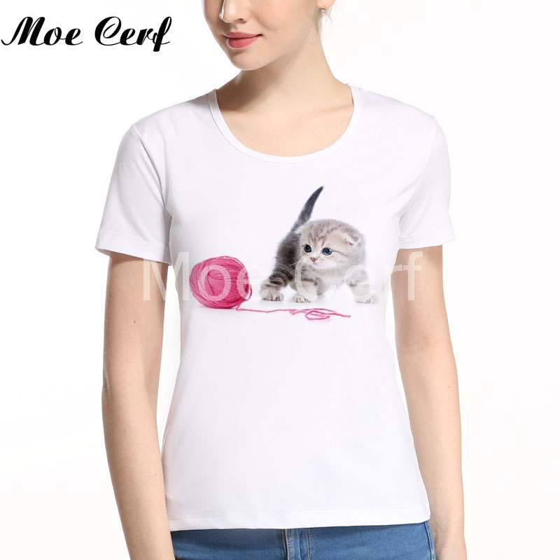 2018 Cute Cat Kitten Print T Shirt Women Hot Style Aniaml T-Shirt Women's short sleeve cute tops tee youth teen girl top L11-153