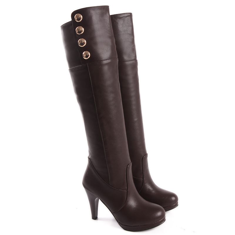 Brand New Sexy Sales Black Brown High Heels Women Thigh Knee High Boots Ladies Winter Shoes A98-3 Plus Big size 4 12 33 48 brand new fashion black yellow women knee high cowboy motorcycle boots ladies shoes high heels a 16 zip plus big size 32 43 10