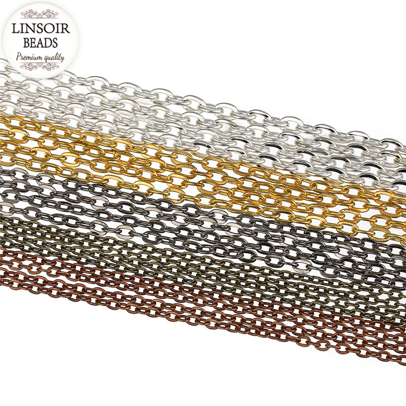 LINSOIR 10m/lot 2*3mm Metal Iron Necklace Chains Bulk For Jewelry Making Gold Color Rolo Chains Fit Bracelets Findings F712