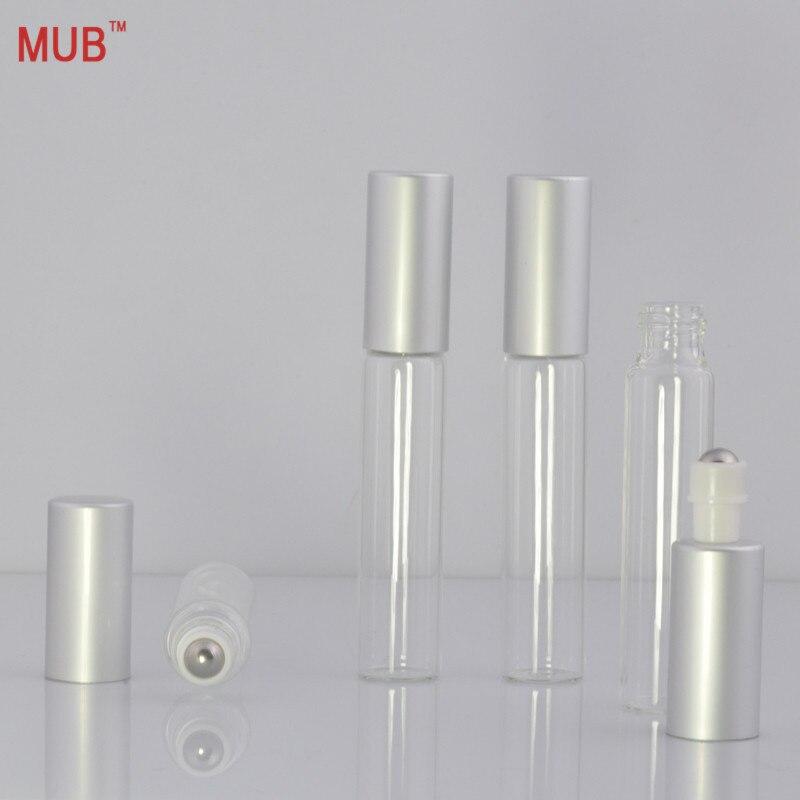 MUB - 10ml (12ks / lot) Ocelová válečková kulová láhev pro esenciální oleje Doplnitelné prázdné lahve na skleněné láhve