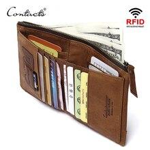 CONTACT'S Кожаный кошелек с двойной RFID блокировкой и с отделениями для документов, денег и карт маленькие кошельки для мужчин