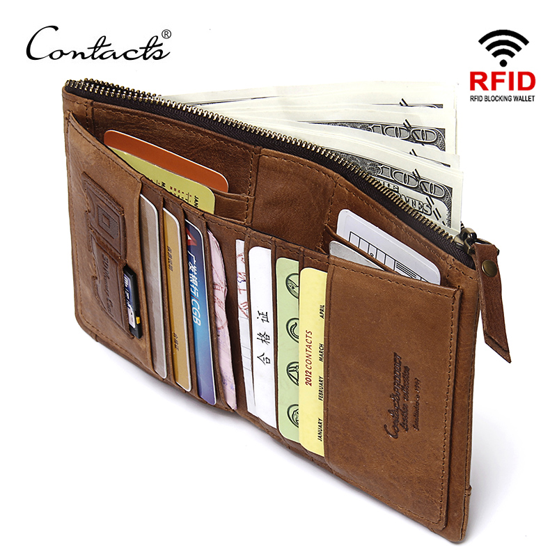 KONTAKTETS RFID-blockering Bifold Slim Äkta Läder Tunna Plånböcker för Mäns Handväska ID / Kreditkort Hållare Fashion Ny Kort Plånbok