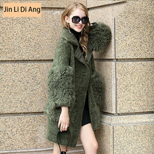 Jin Li Di Ang High quality Soft Genuine Double Faced Sheepskin Real Warm Thick Fashion Sheep Fur Coat Full Sleeve Trendy Coats