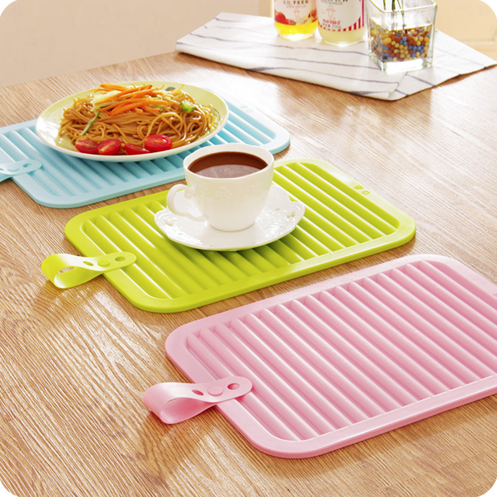 Walfos 1pc Big Size 11.6*8.86 inch Silicone Heat Resistant Pad Non-slip Drain Tableware Mat silicone drying mat