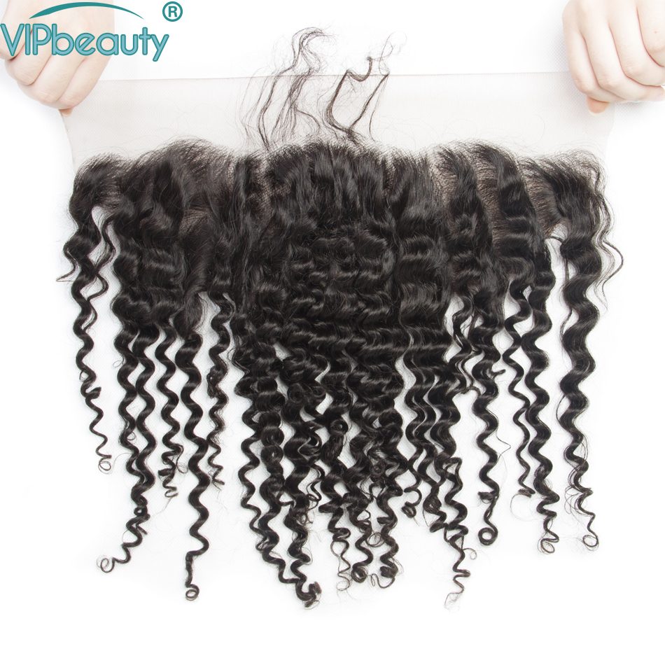 Vipbeauty Malaysian Deep Wave 13x4 Lace Frontal Closure with Bundles Remy Hair Human Hair Bundles with Closure