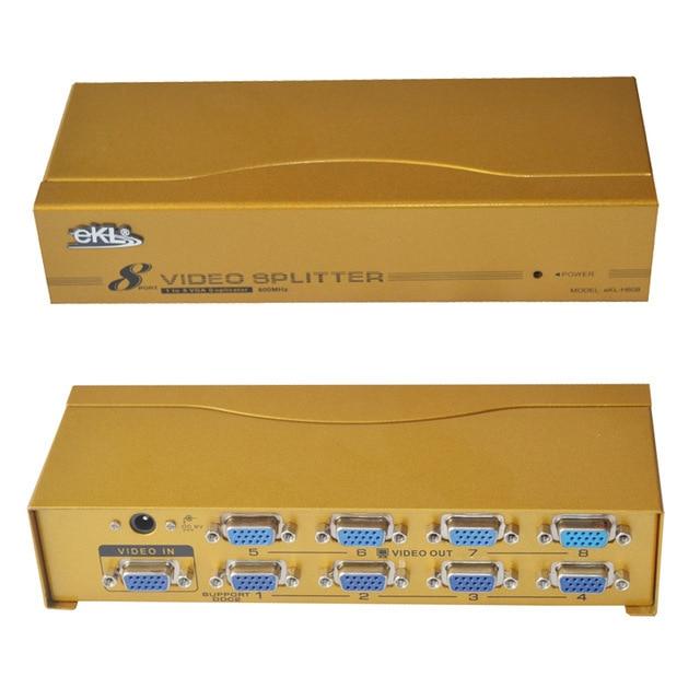 EKL High frequency VGA splitter, 1x8, 1 input 8 output, 1 port for VGA signal input, 8 ports for VGA signal output 600m hd hub
