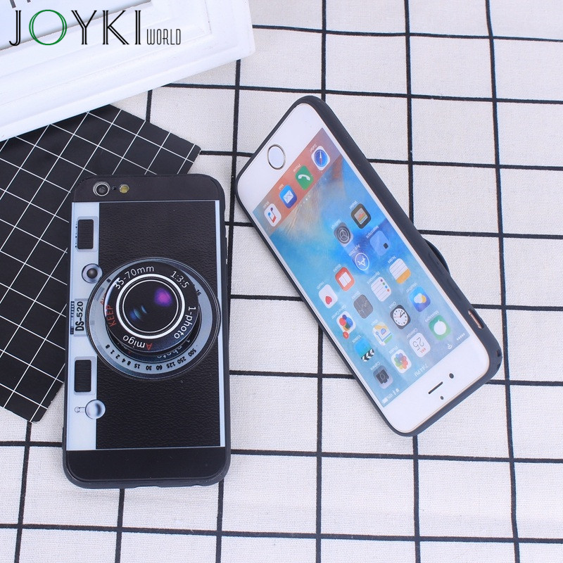 3D Camera For iPhone 7 Cases Mobile <font><b>Phone</b></font> Back Cover Capa Silicone Plastic For iPhone 6 6s 5 5S SE Case With <font><b>POP</b></font> Holder