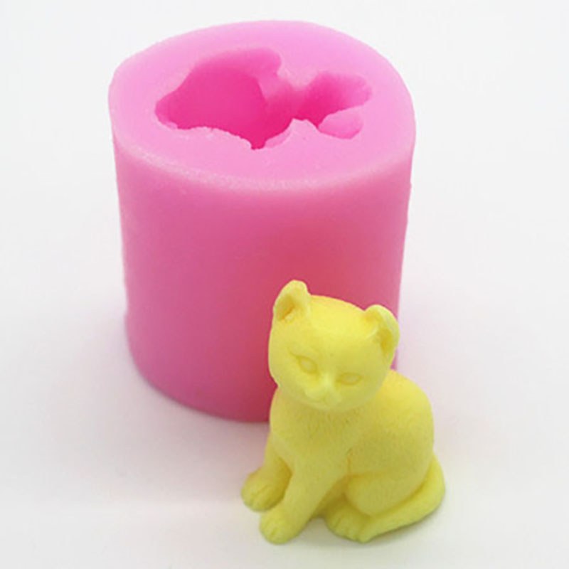 Lovley Cat 3D Candle Mold Silicone Mold for Chocolate Candy Cake Decorating Tools Candle Soap Gypsum Cake Mold Craft Tool
