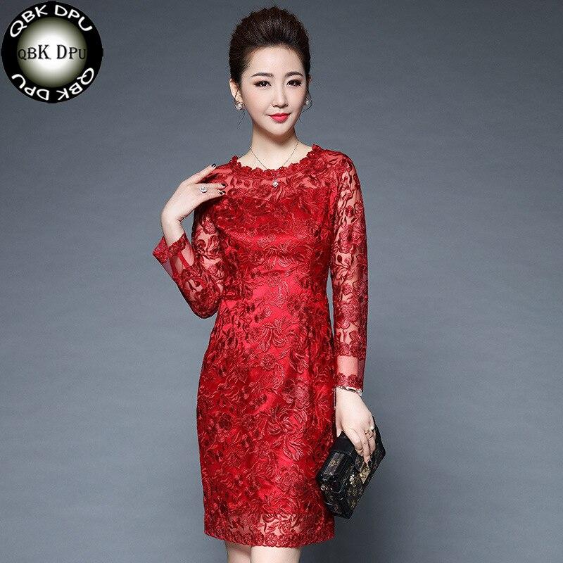 c0f14bb0680 Весна женское платье цветочный вышивка лоскутное Высокое качество винтажное платье  для офиса Повседневное женские платья M-4XL - b.aniketb.me