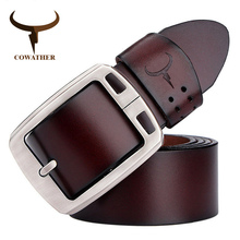 COWATHER cowhide genuine leather belts for men brand Strap male pin bu