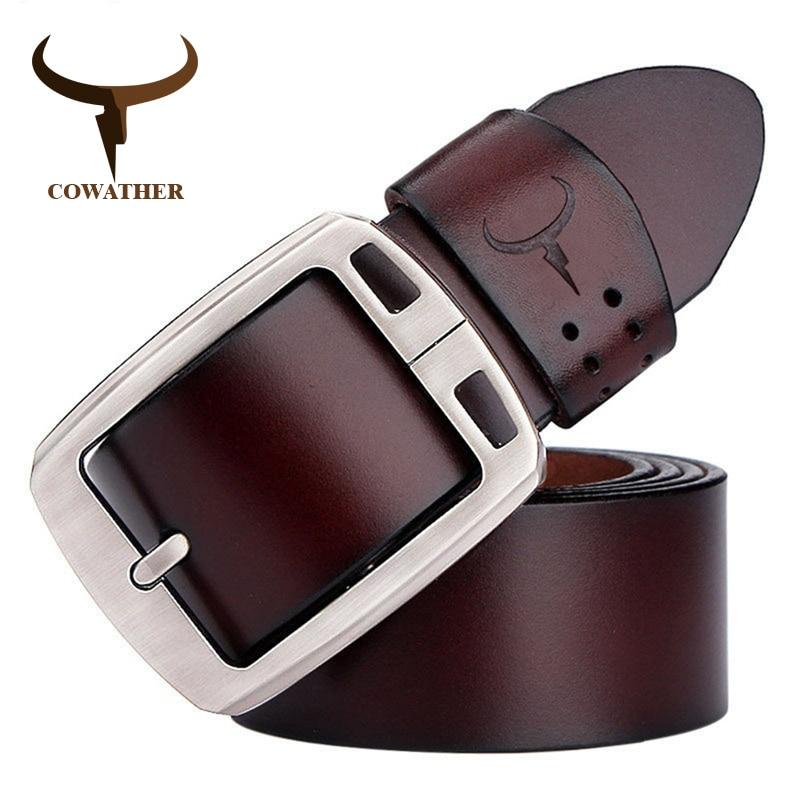 Cowather 100% zurriago correa masculina pin hebilla cinturones de cuero genuino para los hombres a estrenar de lujo de la vendimia vaqueros cintos xf001 freeshipping