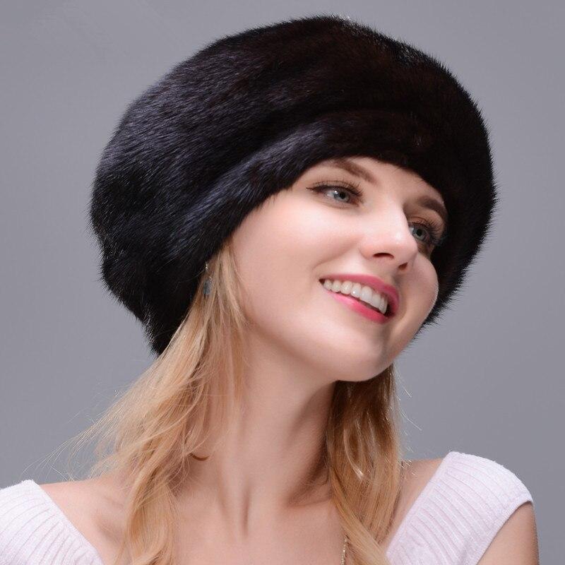 DENPAL Marke Neue Pelz Hut Stil Mantel Pelz Hut Reale Natürliche Schwarz Nerz Hut Für Frau Winter Warme Hut kappe Schutz Ohr - 4