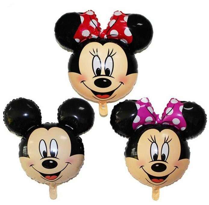 5pcs 67*64cm Mickey Minnie head foil balloons kids cartoon red bow Minnie mouse birthday party decor children lovely toys balls