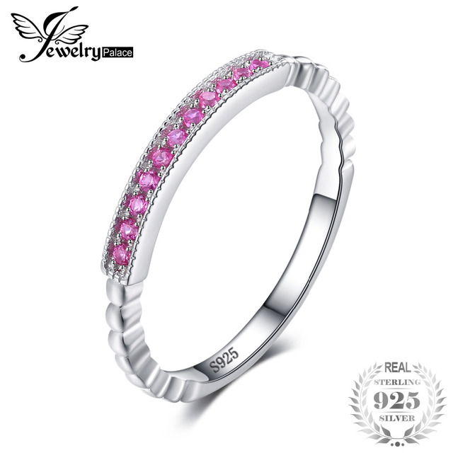 JewelryPalace 925 Sterling Silver Created Pink Sapphire Rope Band Stackable Ring