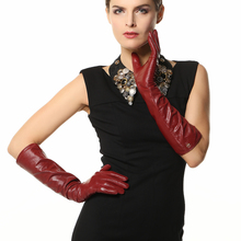 EL018NN 44cm long women winter leather gloves Fashion Opera Genuine warm style sheepskin