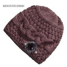 Warm Winter Hats for Women 2019 Knitted Flower Beanies Female Caps Braided Hats Gorros Cap Bonnet Femme Mother Hat Skullies Cap
