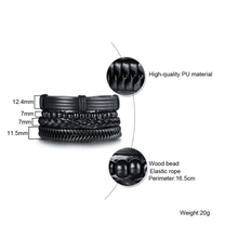 Vnox 4pcs/ Set Black Bracelets for Men Bangle Adjustable Length Bohemia Holiday Male Jewelry Punk Pulseira